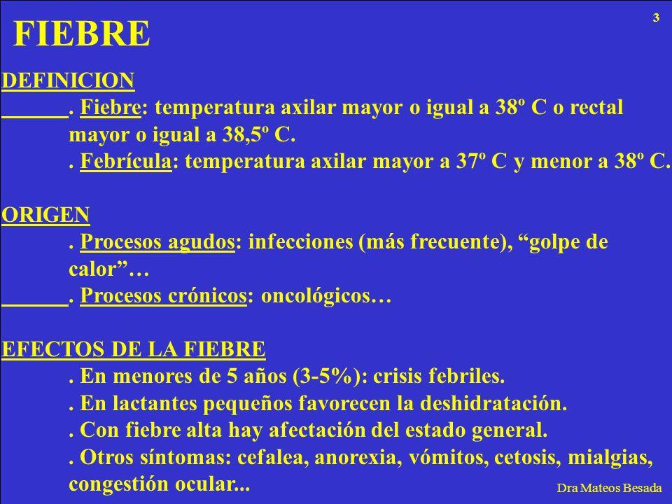 FIEBRE Dra Mateos Besada DEFINICION. Fiebre: temperatura axilar mayor o igual a 38º C o rectal mayor o igual a 38,5º C.. Febrícula: temperatura axilar