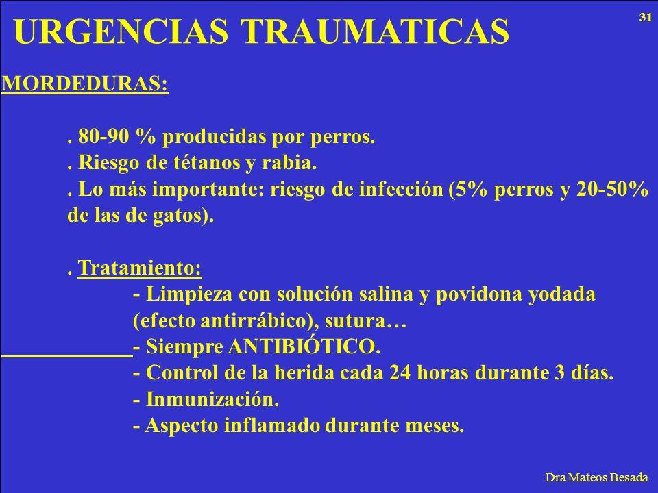 URGENCIAS TRAUMATICAS Dra Mateos Besada MORDEDURAS:. 80-90 % producidas por perros.. Riesgo de tétanos y rabia.. Lo más importante: riesgo de infecció