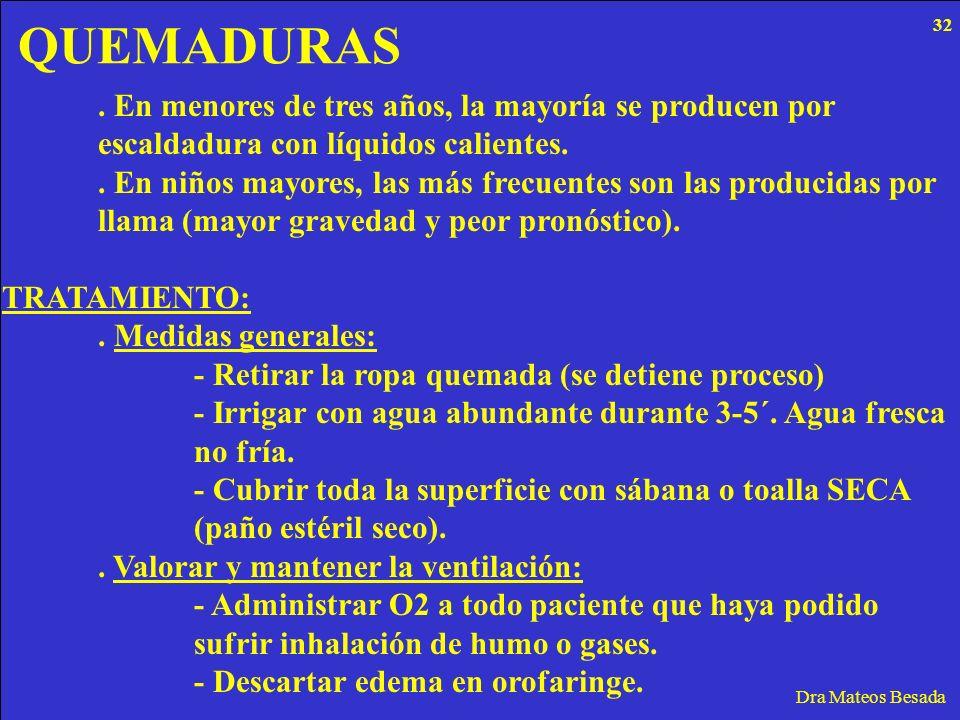 QUEMADURAS Dra Mateos Besada. En menores de tres años, la mayoría se producen por escaldadura con líquidos calientes.. En niños mayores, las más frecu