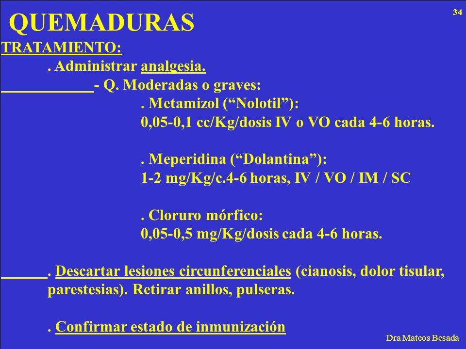 QUEMADURAS Dra Mateos Besada TRATAMIENTO:. Administrar analgesia. - Q. Moderadas o graves:. Metamizol (Nolotil): 0,05-0,1 cc/Kg/dosis IV o VO cada 4-6
