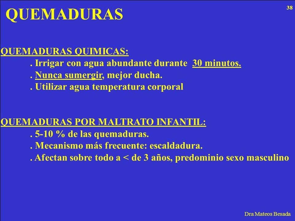 QUEMADURAS Dra Mateos Besada QUEMADURAS QUIMICAS:. Irrigar con agua abundante durante 30 minutos.. Nunca sumergir, mejor ducha.. Utilizar agua tempera