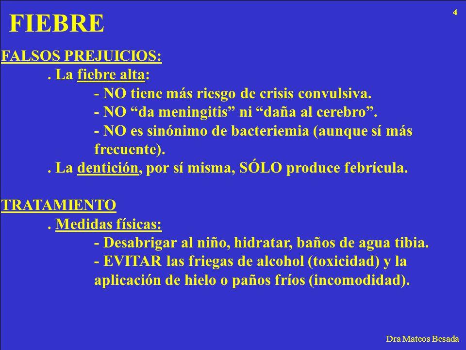 FIEBRE Dra Mateos Besada FALSOS PREJUICIOS:. La fiebre alta: - NO tiene más riesgo de crisis convulsiva. - NO da meningitis ni daña al cerebro. - NO e