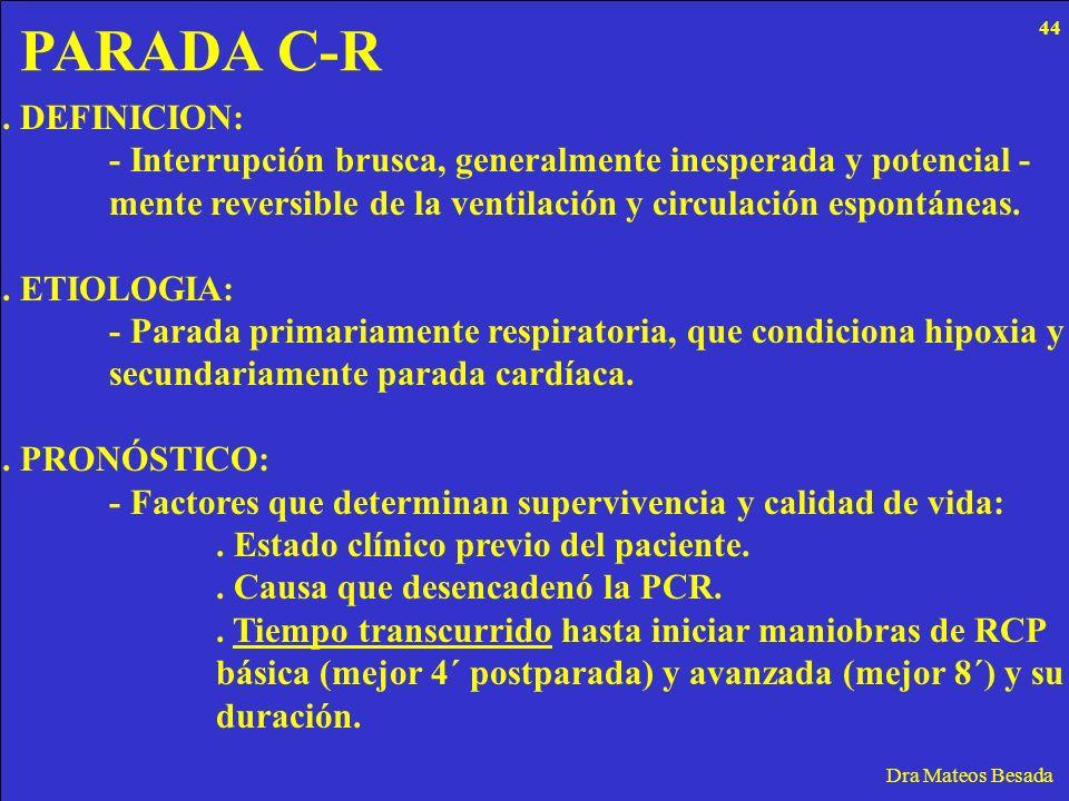 PARADA C-R Dra Mateos Besada. DEFINICION: - Interrupción brusca, generalmente inesperada y potencial - mente reversible de la ventilación y circulació