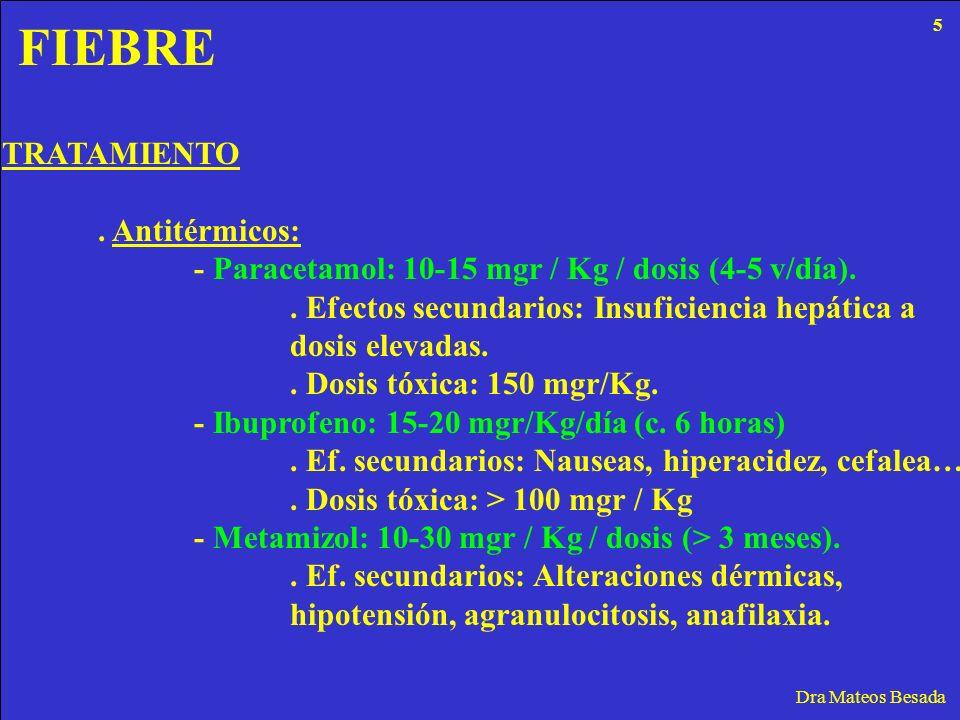 FIEBRE Dra Mateos Besada TRATAMIENTO. Antitérmicos: - Paracetamol: 10-15 mgr / Kg / dosis (4-5 v/día).. Efectos secundarios: Insuficiencia hepática a