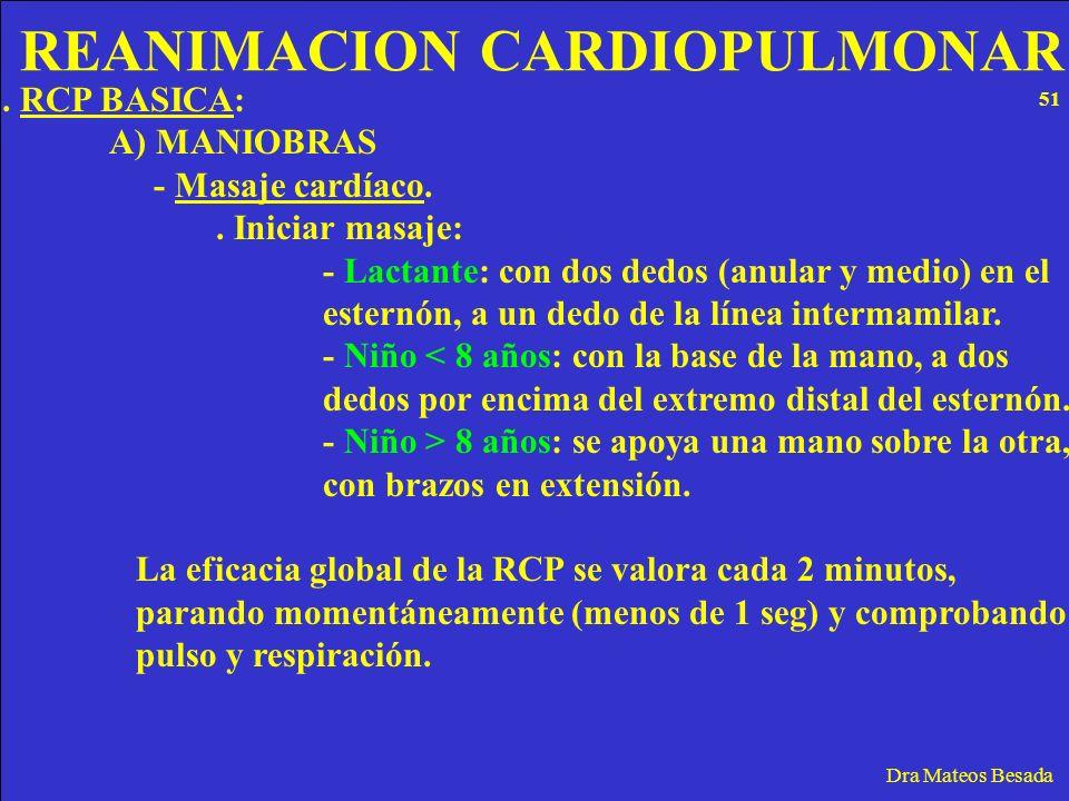 REANIMACION CARDIOPULMONAR Dra Mateos Besada. RCP BASICA: A) MANIOBRAS - Masaje cardíaco.. Iniciar masaje: - Lactante: con dos dedos (anular y medio)