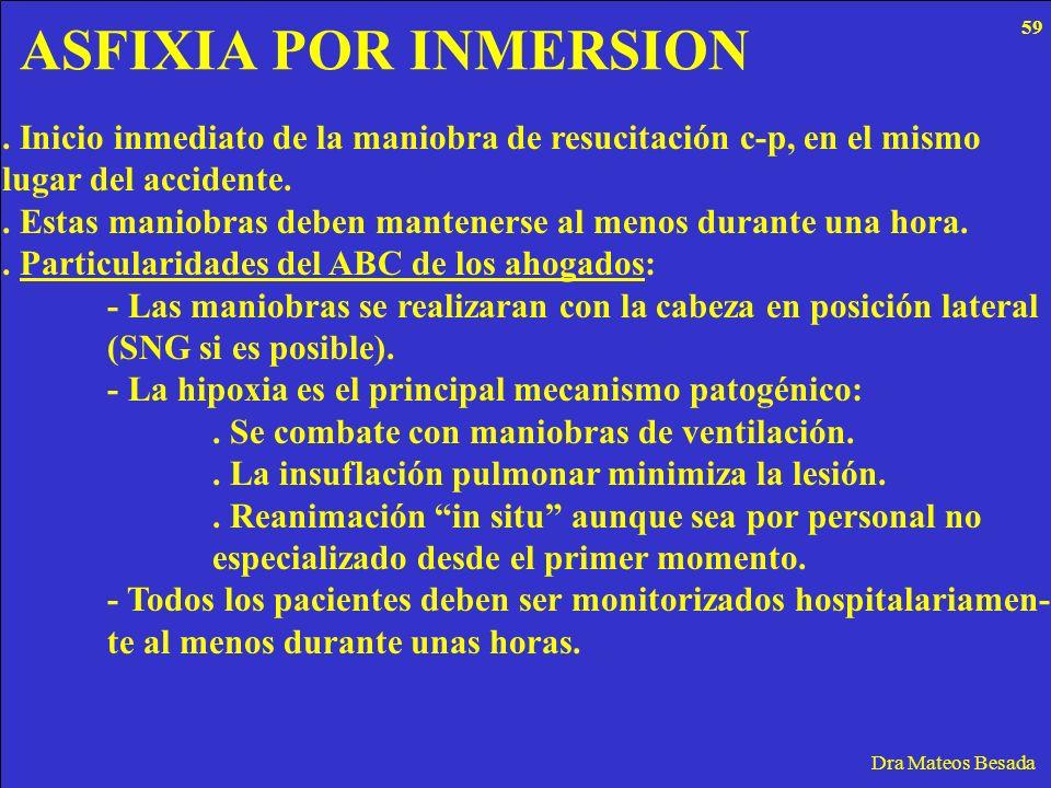 ASFIXIA POR INMERSION Dra Mateos Besada. Inicio inmediato de la maniobra de resucitación c-p, en el mismo lugar del accidente.. Estas maniobras deben