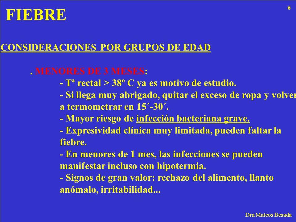 FIEBRE Dra Mateos Besada CONSIDERACIONES POR GRUPOS DE EDAD. MENORES DE 3 MESES: - Tª rectal > 38º C ya es motivo de estudio. - Si llega muy abrigado,