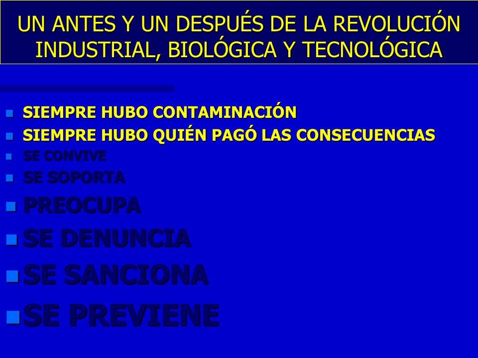 UN ANTES Y UN DESPUÉS DE LA REVOLUCIÓN INDUSTRIAL, BIOLÓGICA Y TECNOLÓGICA n SIEMPRE HUBO CONTAMINACIÓN n SIEMPRE HUBO QUIÉN PAGÓ LAS CONSECUENCIAS n