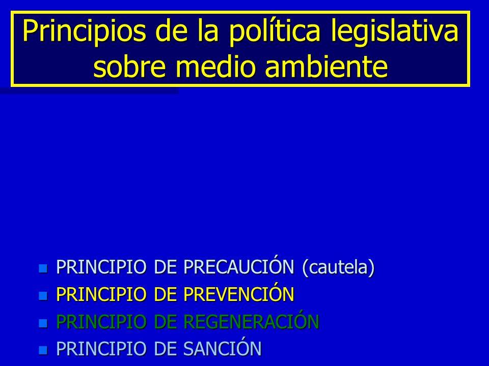 Principios de la política legislativa sobre medio ambiente n PRINCIPIO DE PRECAUCIÓN (cautela) n PRINCIPIO DE PREVENCIÓN n PRINCIPIO DE REGENERACIÓN n