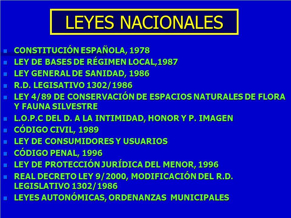 LEYES NACIONALES n CONSTITUCIÓN ESPAÑOLA, 1978 n LEY DE BASES DE RÉGIMEN LOCAL,1987 n LEY GENERAL DE SANIDAD, 1986 n R.D. LEGISATIVO 1302/1986 n LEY 4