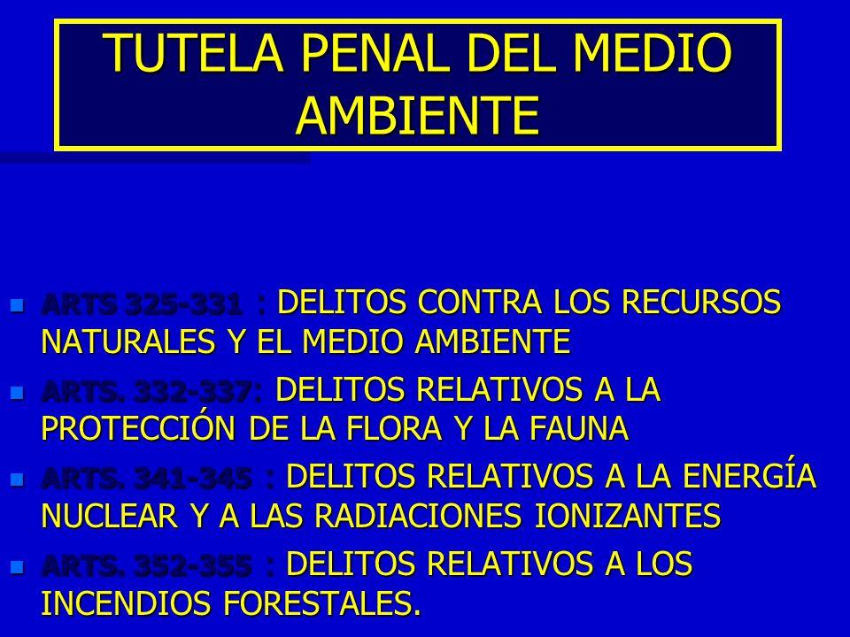TUTELA PENAL DEL MEDIO AMBIENTE n ARTS 325-331 : DELITOS CONTRA LOS RECURSOS NATURALES Y EL MEDIO AMBIENTE n ARTS. 332-337 : DELITOS RELATIVOS A LA PR