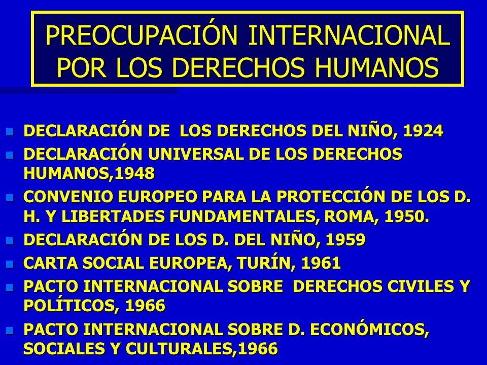 PREOCUPACIÓN INTERNACIONAL POR LOS DERECHOS HUMANOS n DECLARACIÓN DE LOS DERECHOS DEL NIÑO, 1924 n DECLARACIÓN UNIVERSAL DE LOS DERECHOS HUMANOS,1948