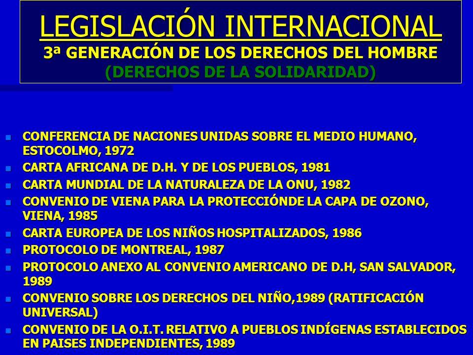 LEGISLACIÓN INTERNACIONAL 3ª GENERACIÓN DE LOS DERECHOS DEL HOMBRE (DERECHOS DE LA SOLIDARIDAD) n CONFERENCIA DE NACIONES UNIDAS SOBRE EL MEDIO HUMANO