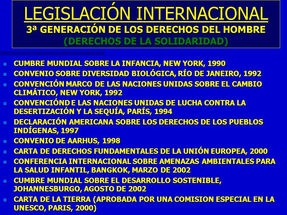 LEGISLACIÓN INTERNACIONAL 3ª GENERACIÓN DE LOS DERECHOS DEL HOMBRE (DERECHOS DE LA SOLIDARIDAD) n CUMBRE MUNDIAL SOBRE LA INFANCIA, NEW YORK, 1990 n C