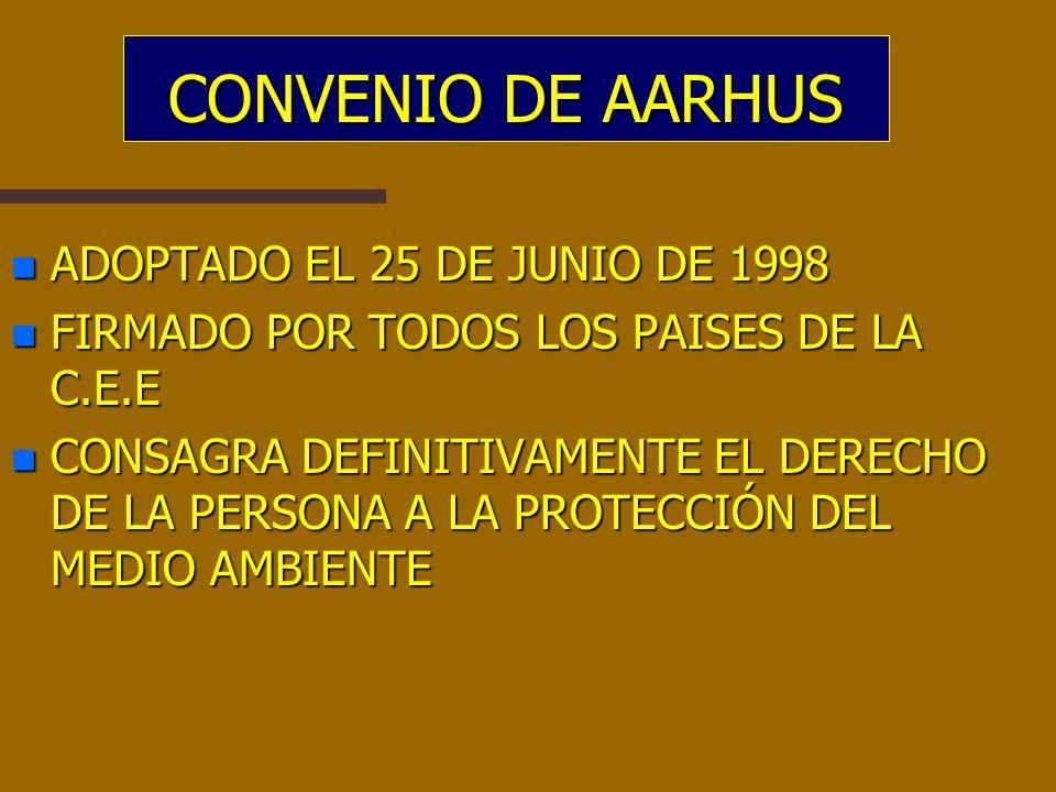 CONVENIO DE AARHUS n ADOPTADO EL 25 DE JUNIO DE 1998 n FIRMADO POR TODOS LOS PAISES DE LA C.E.E n CONSAGRA DEFINITIVAMENTE EL DERECHO DE LA PERSONA A