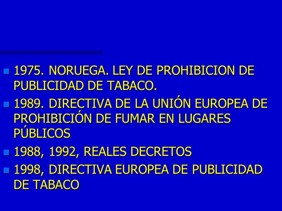 n 1975. NORUEGA. LEY DE PROHIBICION DE PUBLICIDAD DE TABACO. n 1989. DIRECTIVA DE LA UNIÓN EUROPEA DE PROHIBICIÓN DE FUMAR EN LUGARES PÚBLICOS n 1988,