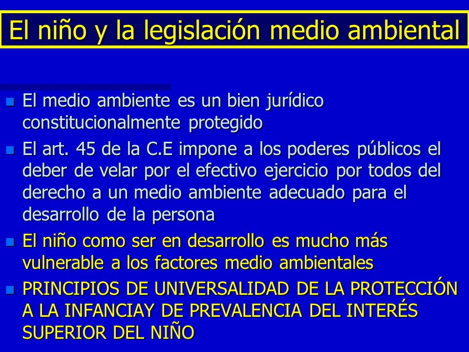 El niño y la legislación medio ambiental n El medio ambiente es un bien jurídico constitucionalmente protegido n El art. 45 de la C.E impone a los pod