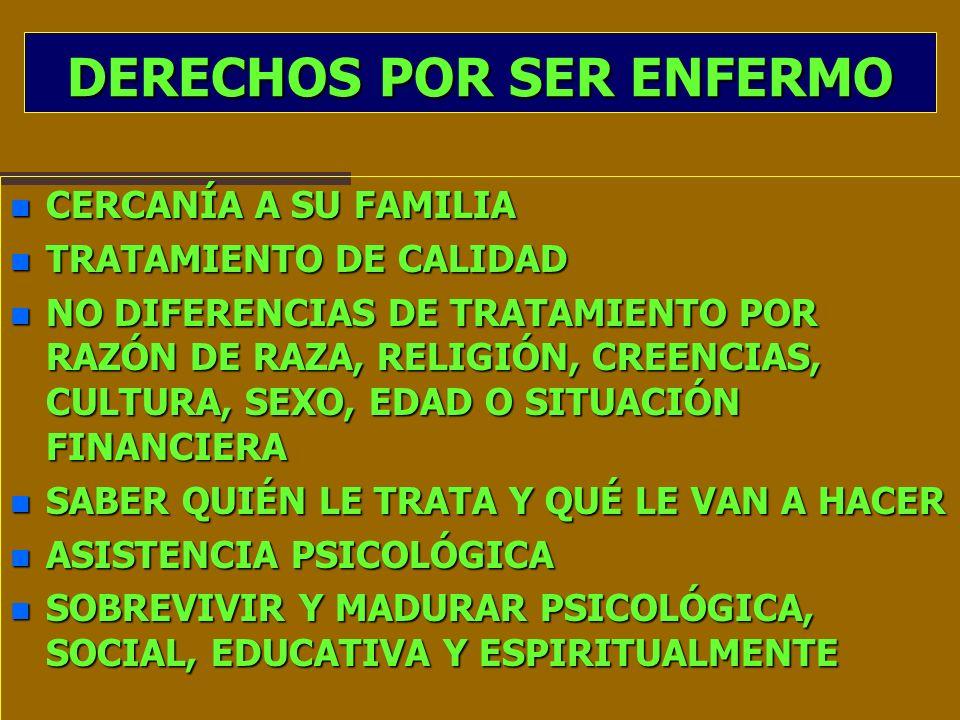 DERECHOS POR SER ENFERMO n CERCANÍA A SU FAMILIA n TRATAMIENTO DE CALIDAD n NO DIFERENCIAS DE TRATAMIENTO POR RAZÓN DE RAZA, RELIGIÓN, CREENCIAS, CULT