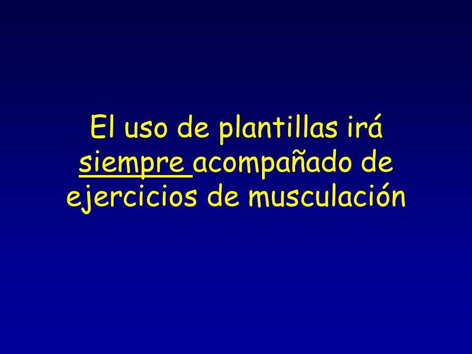 El uso de plantillas irá siempre acompañado de ejercicios de musculación