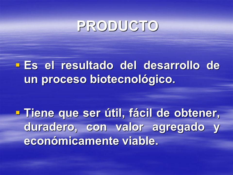 PRODUCTO Es el resultado del desarrollo de un proceso biotecnológico. Es el resultado del desarrollo de un proceso biotecnológico. Tiene que ser útil,