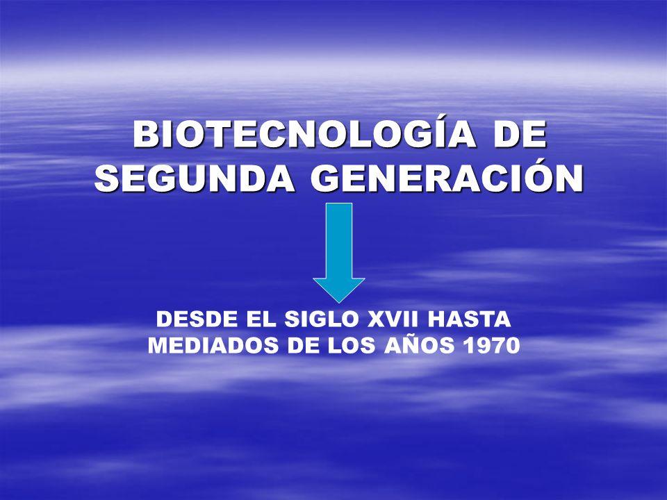 BIOTECNOLOGÍA DE SEGUNDA GENERACIÓN DESDE EL SIGLO XVII HASTA MEDIADOS DE LOS AÑOS 1970