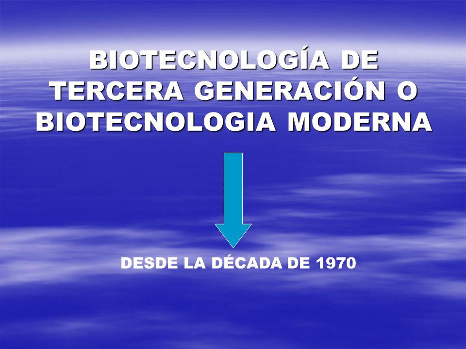 BIOTECNOLOGÍA DE TERCERA GENERACIÓN O BIOTECNOLOGIA MODERNA DESDE LA DÉCADA DE 1970
