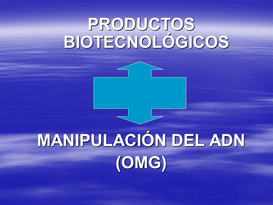 PRODUCTOS BIOTECNOLÓGICOS MANIPULACIÓN DEL ADN (OMG)