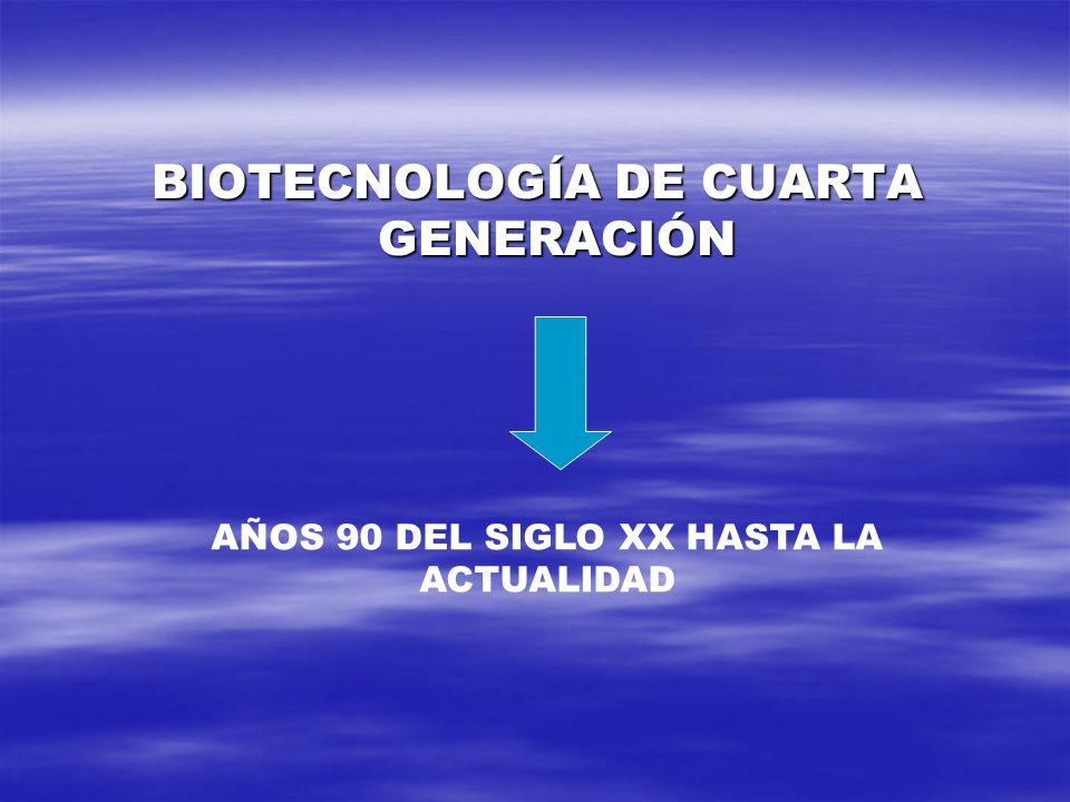 BIOTECNOLOGÍA DE CUARTA GENERACIÓN AÑOS 90 DEL SIGLO XX HASTA LA ACTUALIDAD