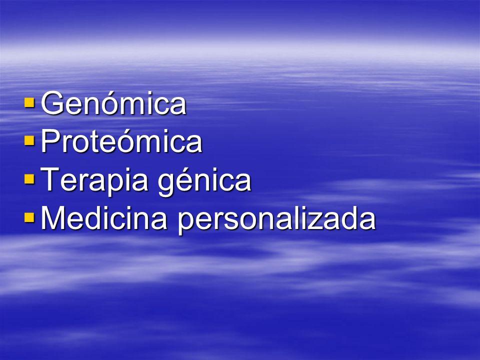 Genómica Genómica Proteómica Proteómica Terapia génica Terapia génica Medicina personalizada Medicina personalizada