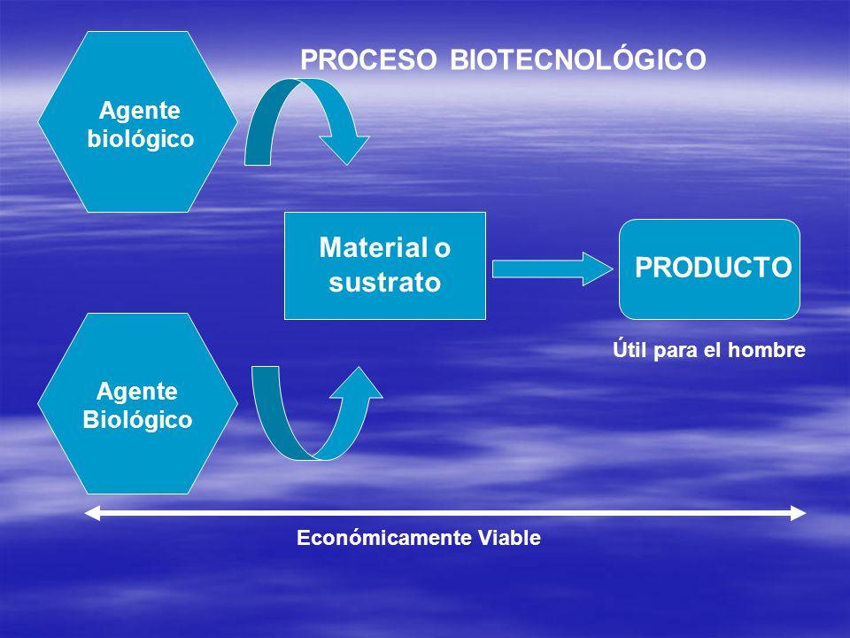 Agente biológico Agente Biológico Material o sustrato PRODUCTO Útil para el hombre Económicamente Viable PROCESO BIOTECNOLÓGICO