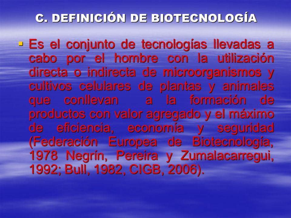 C. DEFINICIÓN DE BIOTECNOLOGÍA Es el conjunto de tecnologías llevadas a cabo por el hombre con la utilización directa o indirecta de microorganismos y