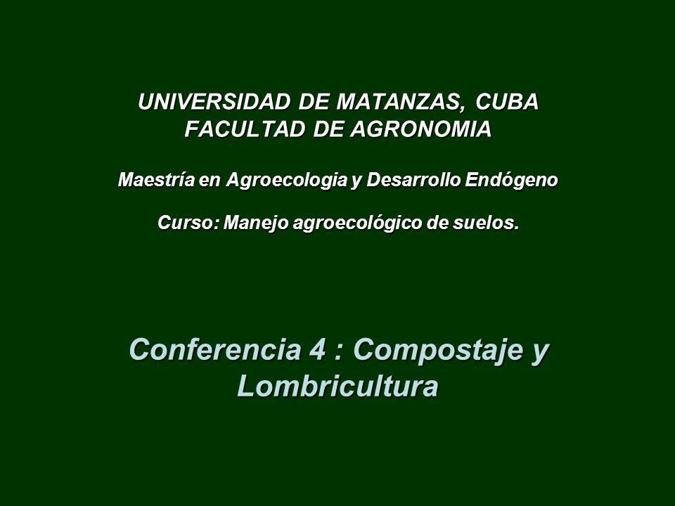 UNIVERSIDAD DE MATANZAS, CUBA FACULTAD DE AGRONOMIA Maestría en Agroecologia y Desarrollo Endógeno Curso: Manejo agroecológico de suelos. Conferencia