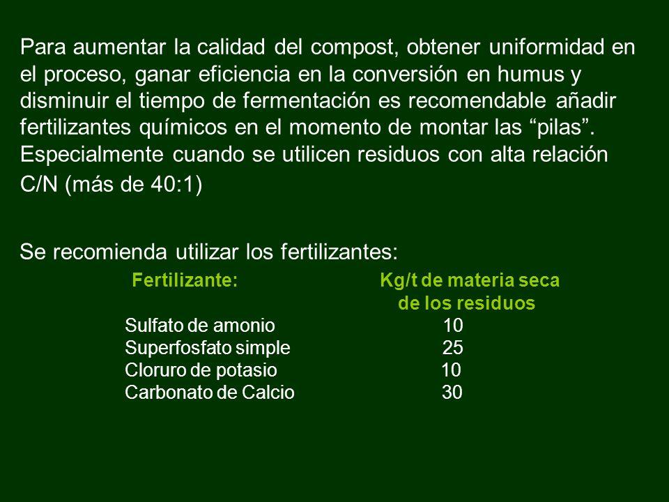 Para aumentar la calidad del compost, obtener uniformidad en el proceso, ganar eficiencia en la conversión en humus y disminuir el tiempo de fermentac