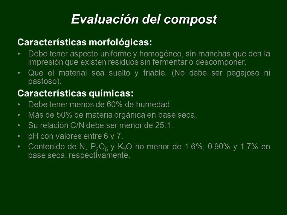 Evaluación del compost Características morfológicas: Debe tener aspecto uniforme y homogéneo, sin manchas que den la impresión que existen residuos si