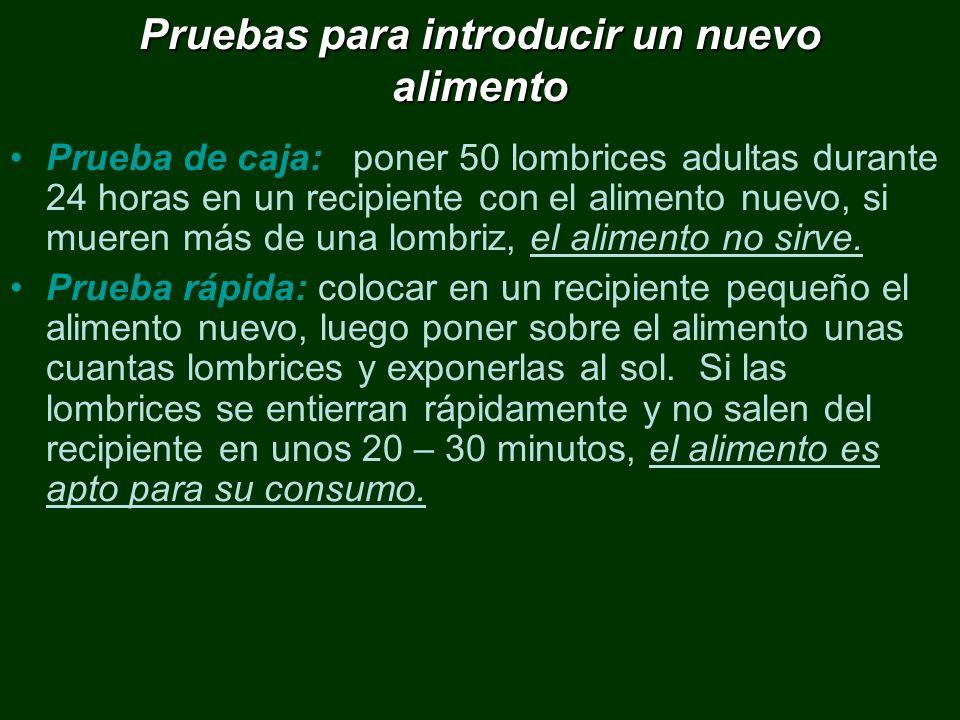 Pruebas para introducir un nuevo alimento Prueba de caja: poner 50 lombrices adultas durante 24 horas en un recipiente con el alimento nuevo, si muere