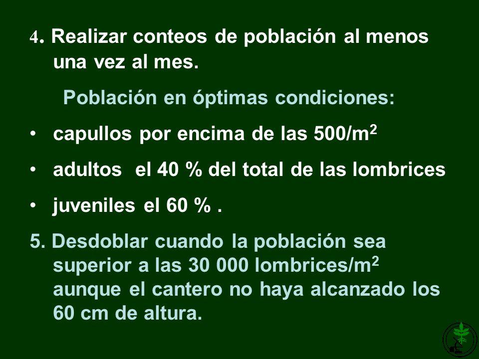 4. Realizar conteos de población al menos una vez al mes. Población en óptimas condiciones: capullos por encima de las 500/m 2 adultos el 40 % del tot