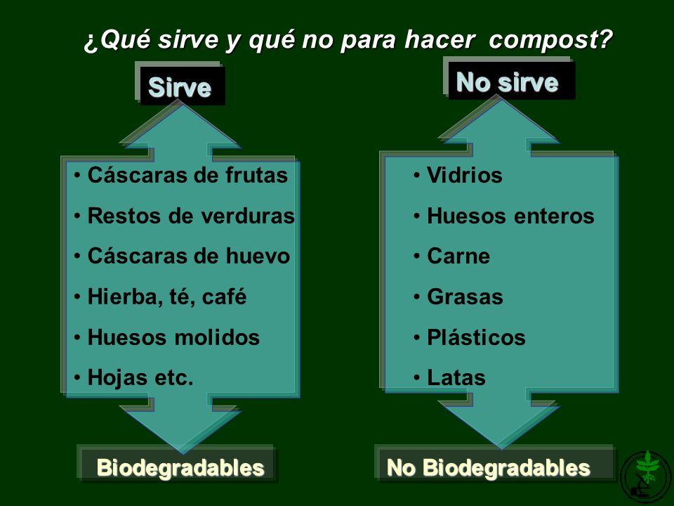 Qué sirve y qué no para hacer compost? ¿Qué sirve y qué no para hacer compost? Sirve No sirve Biodegradables No Biodegradables Cáscaras de frutas Rest