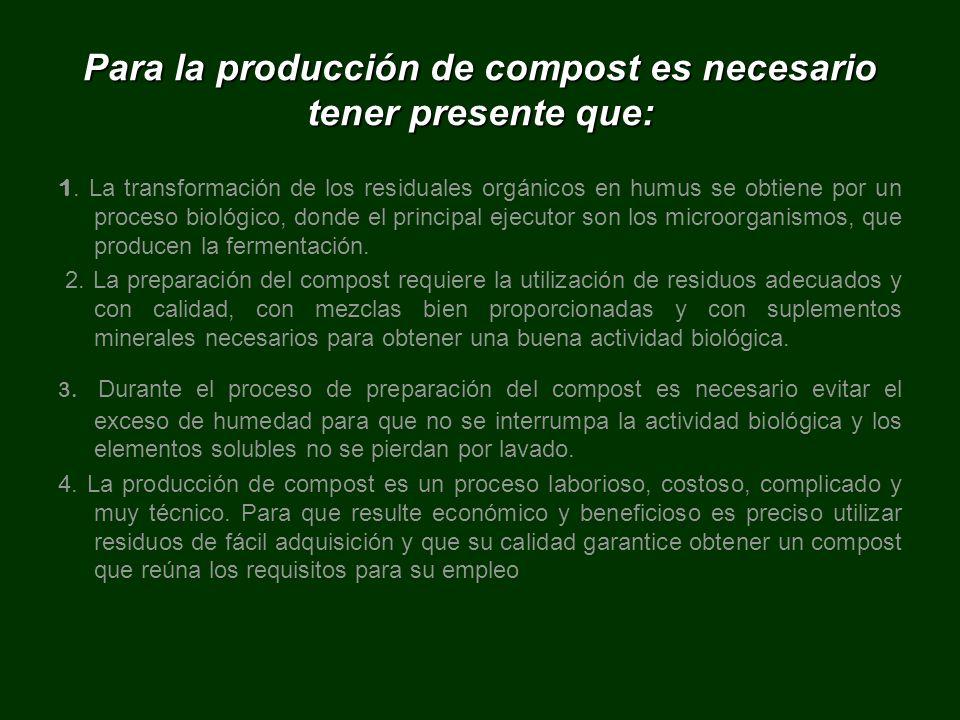 Para la producción de compost es necesario tener presente que: 1. La transformación de los residuales orgánicos en humus se obtiene por un proceso bio