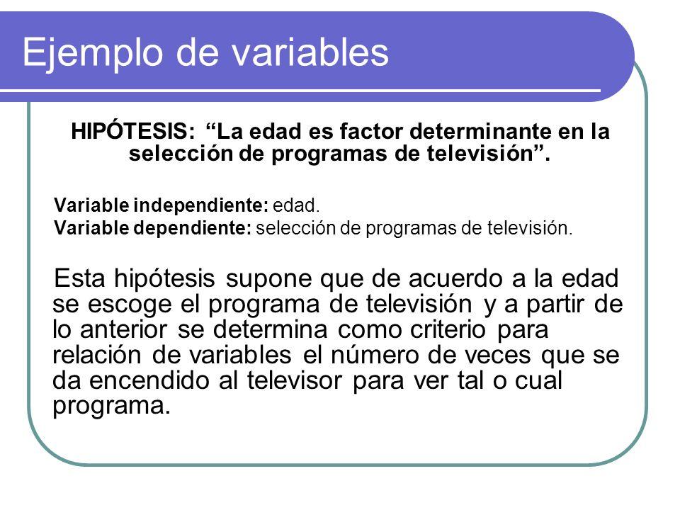 Ejemplo de variables HIPÓTESIS: La edad es factor determinante en la selección de programas de televisión. Variable independiente: edad. Variable depe