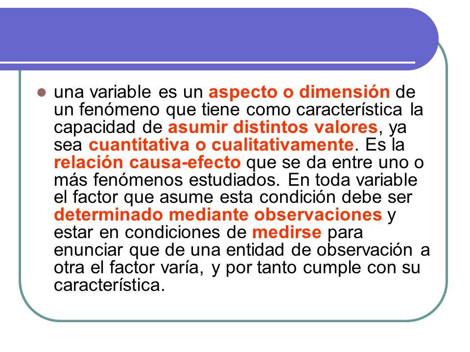 una variable es un aspecto o dimensión de un fenómeno que tiene como característica la capacidad de asumir distintos valores, ya sea cuantitativa o cu