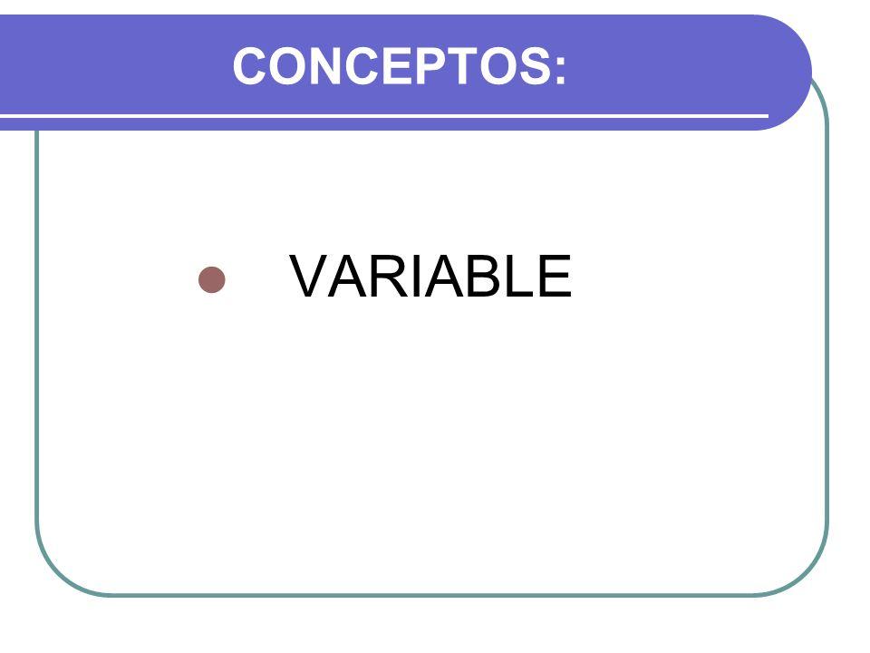 VARIABLES El término variable se define como las características o atributos que admiten diferentes valores (D´Ary, Jacobs y Razavieh, 1982) por ejemplo, la estatura, la edad, el cociente intelectual, la temperatura, el clima, etc.