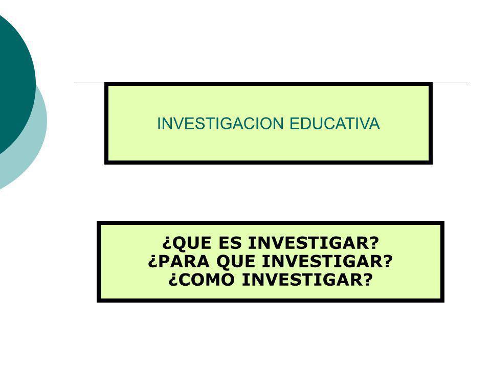 INVESTIGACION EDUCATIVA ¿QUE ES INVESTIGAR? ¿PARA QUE INVESTIGAR? ¿COMO INVESTIGAR?