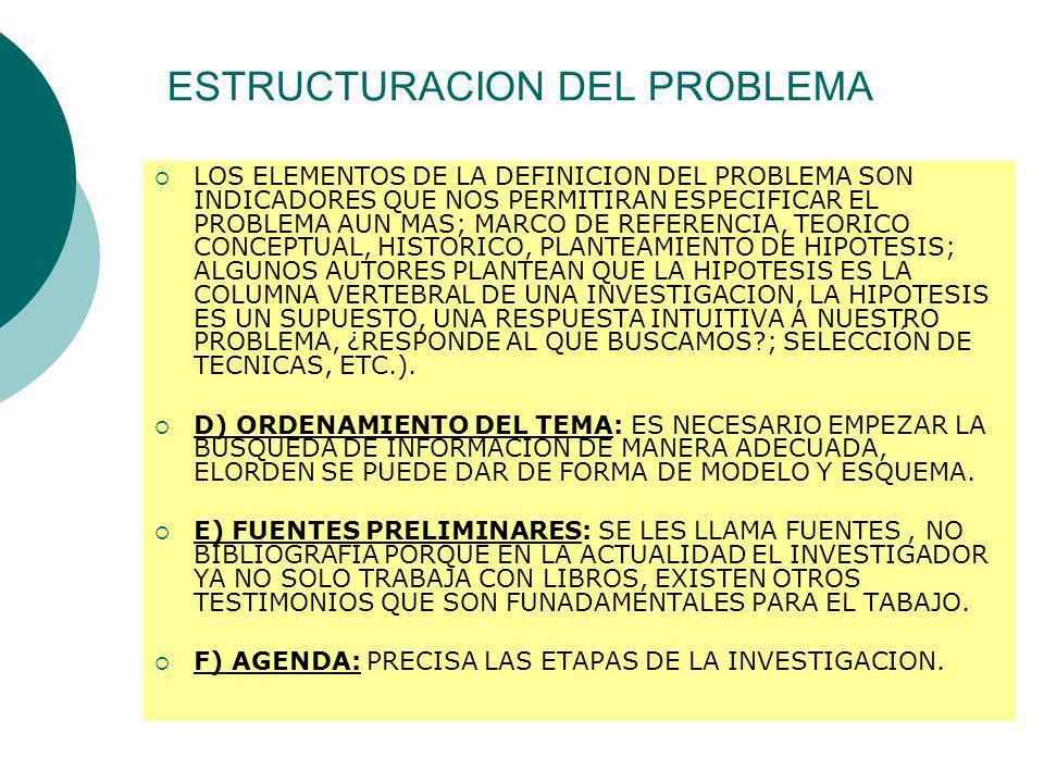 ESTRUCTURACION DEL PROBLEMA LOS ELEMENTOS DE LA DEFINICION DEL PROBLEMA SON INDICADORES QUE NOS PERMITIRAN ESPECIFICAR EL PROBLEMA AUN MAS; MARCO DE R