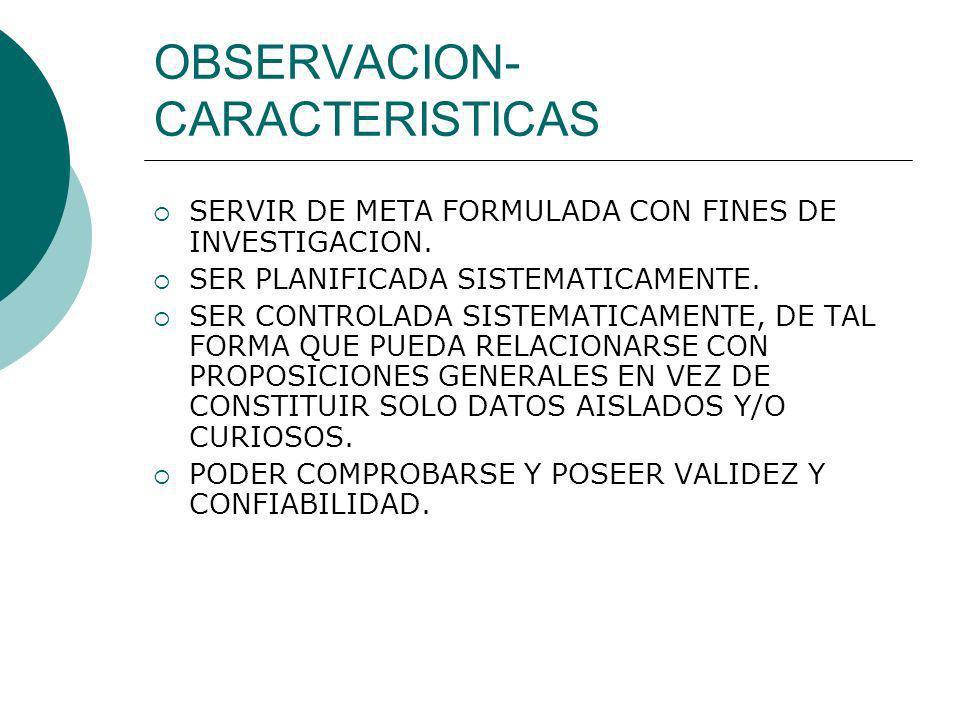 OBSERVACION- CARACTERISTICAS SERVIR DE META FORMULADA CON FINES DE INVESTIGACION. SER PLANIFICADA SISTEMATICAMENTE. SER CONTROLADA SISTEMATICAMENTE, D