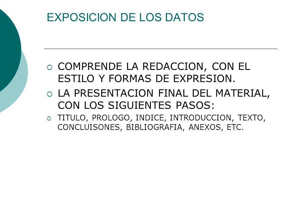 EXPOSICION DE LOS DATOS COMPRENDE LA REDACCION, CON EL ESTILO Y FORMAS DE EXPRESION. LA PRESENTACION FINAL DEL MATERIAL, CON LOS SIGUIENTES PASOS: TIT