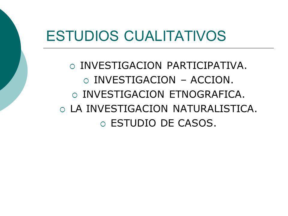 ESTUDIOS CUALITATIVOS INVESTIGACION PARTICIPATIVA. INVESTIGACION – ACCION. INVESTIGACION ETNOGRAFICA. LA INVESTIGACION NATURALISTICA. ESTUDIO DE CASOS