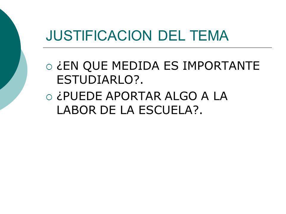 JUSTIFICACION DEL TEMA ¿EN QUE MEDIDA ES IMPORTANTE ESTUDIARLO?. ¿PUEDE APORTAR ALGO A LA LABOR DE LA ESCUELA?.