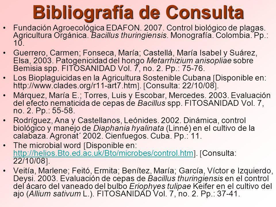 Bibliografía de Consulta Fundación Agroecológica EDAFON.