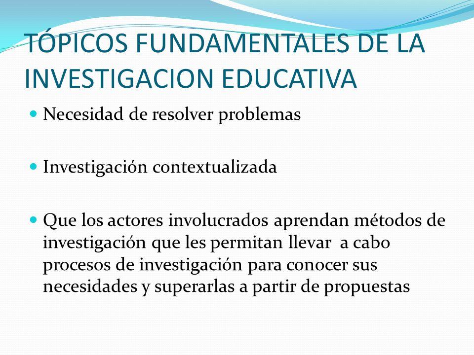 TÓPICOS FUNDAMENTALES DE LA INVESTIGACION EDUCATIVA Necesidad de resolver problemas Investigación contextualizada Que los actores involucrados aprenda