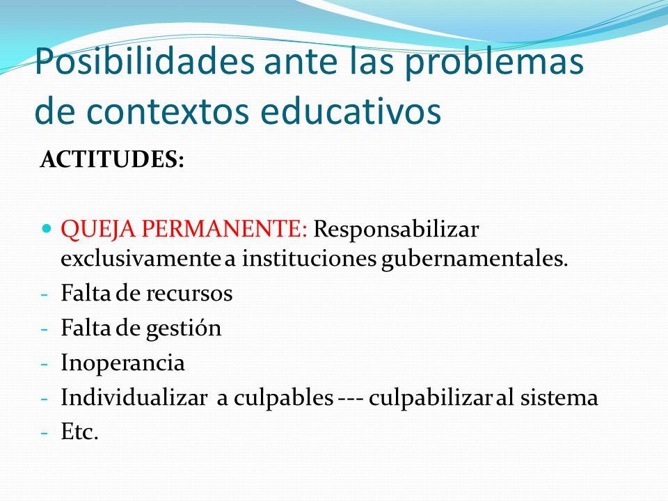 Posibilidades ante las problemas de contextos educativos INDIFERENCIA: - Hacer clases, pasar materias - Despreocuparse de los problemas - No ocupar instancias de diálogo CRÍTICO REFLEXIVO - Busca causas de problemas - Reconoce características de problemas - Se instruye, se organiza… - Propone soluciones… aceptando responsabilidad y asumiendo desafíos